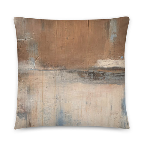 Tan and White Throw Pillow