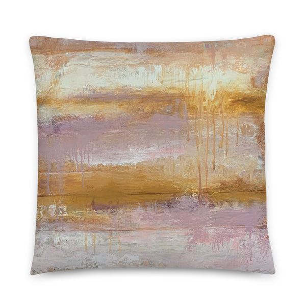 Pink and Yellow Striped Abstract Throw Pillow