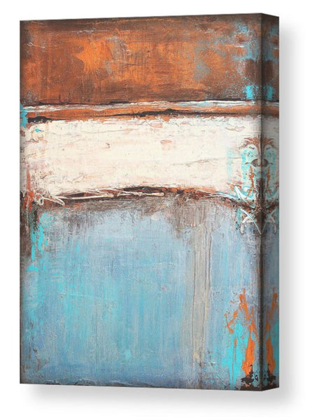 Copper and Blue Abstract - Canvas Print