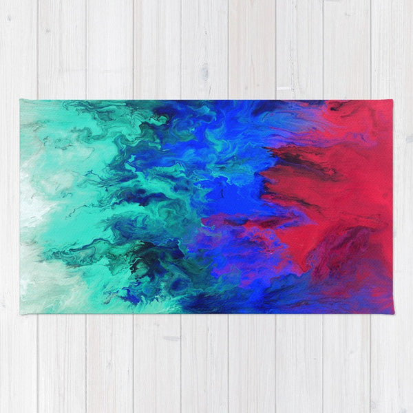 Fire and Ice - Abstract Throw Rug