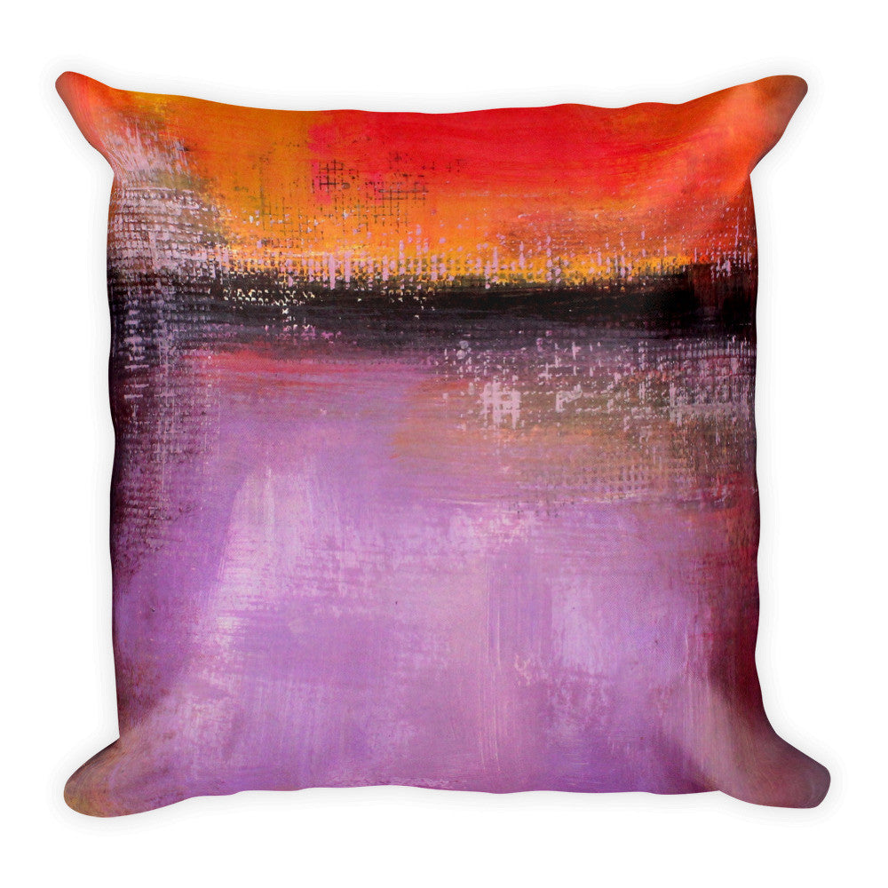 Orange and Purple Pillow – Abstract Landscape - The Modern Home Co. by Liz Moran
