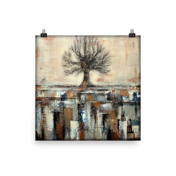 Tree Art - Landscape in Neutral Colors - Poster Print