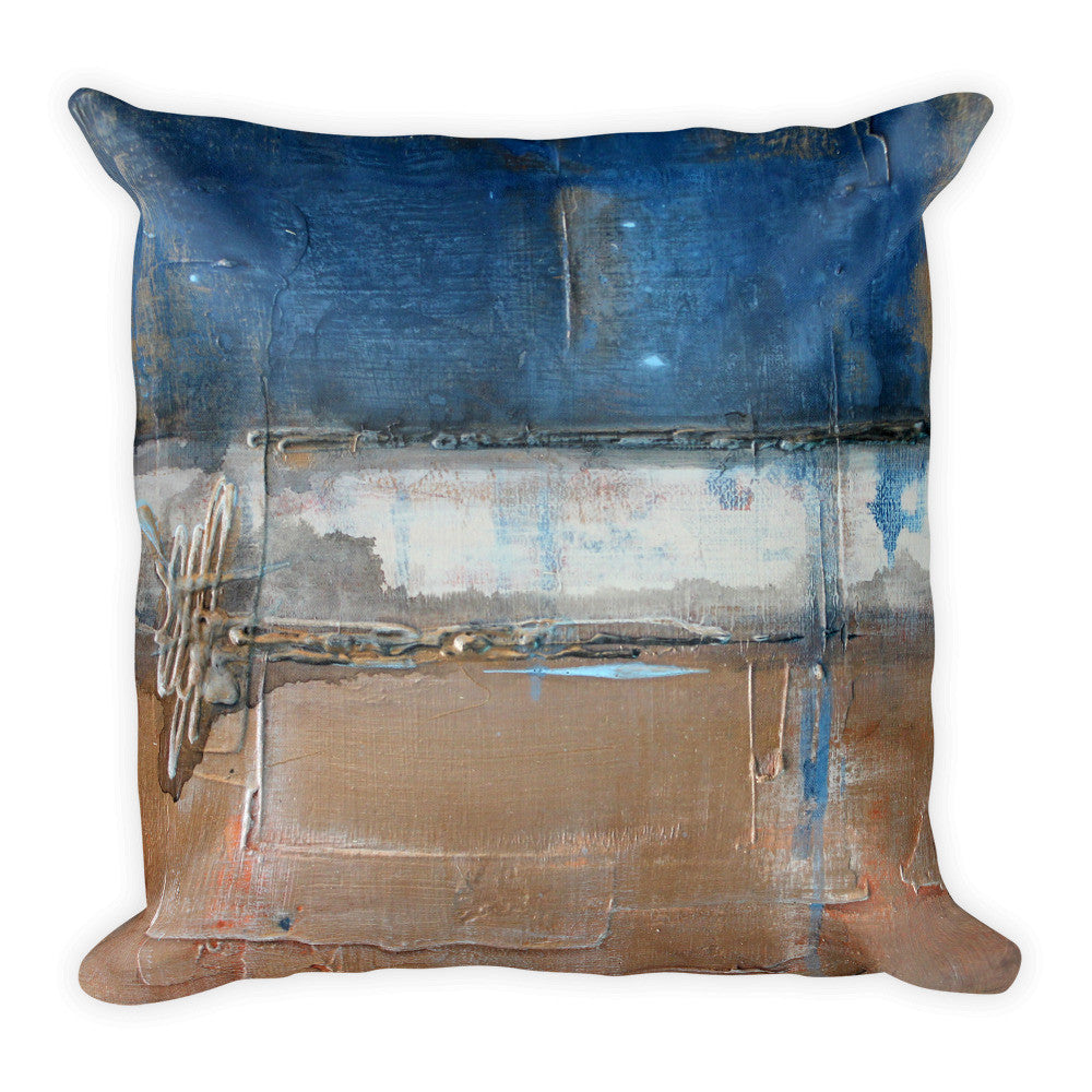 Metallic Square Series II - Blue and Copper Throw Pillow
