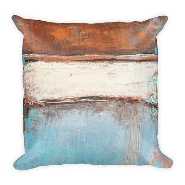 Copper and Blue Throw Pillow