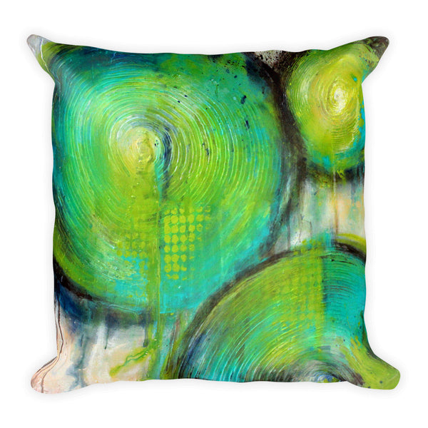 Firefly - Green Circles Throw Pillow - The Modern Home Co. by Liz Moran