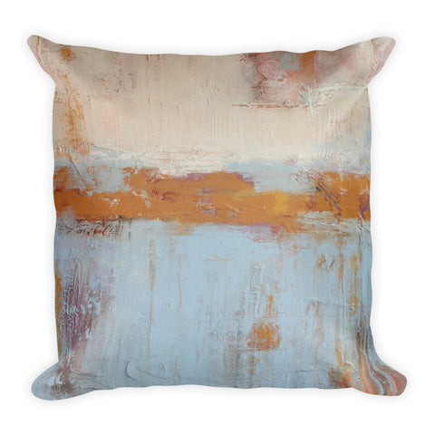 Overdyed Throw Pillow - Faded Blue and White Pillow