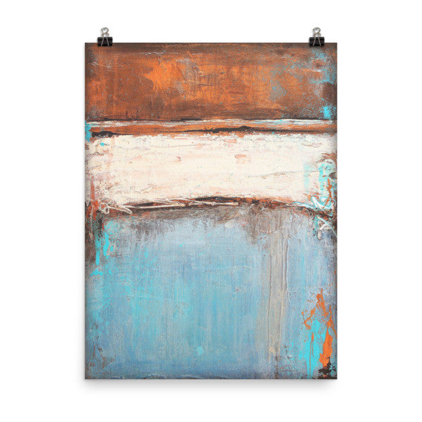 Copper and Blue Abstract - Poster Print