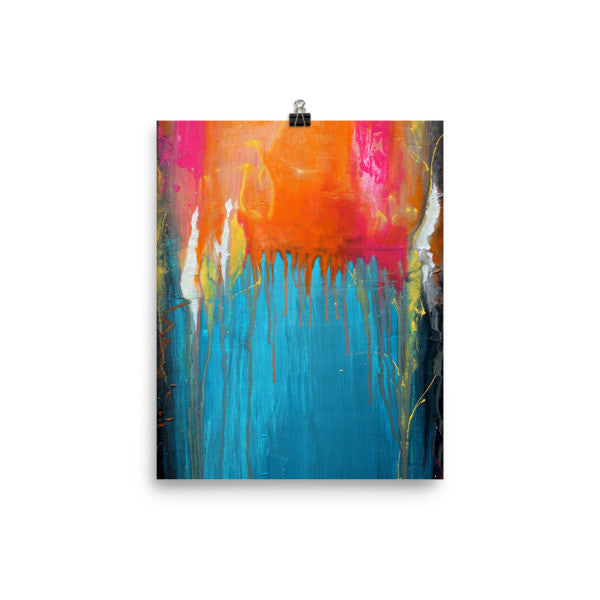 Endless Summer - Blue and Orange Art - Abstract Poster Print