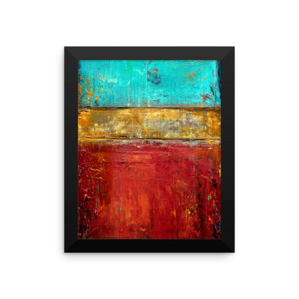 Red, Blue and Gold Wall Art - Framed Print - Poster Print