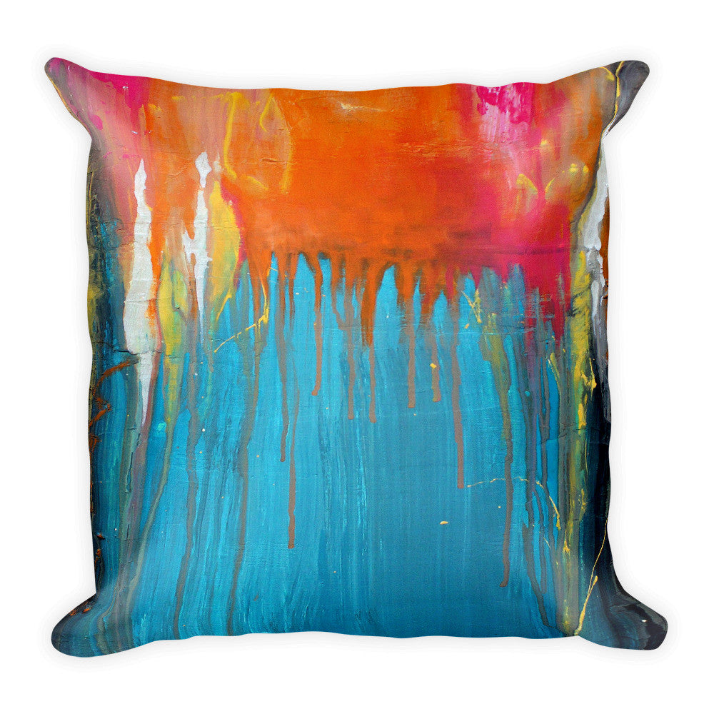 Blue and Orange Abstract Pillow - The Modern Home Co. by Liz Moran