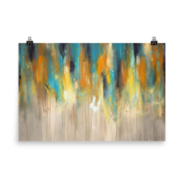 Rainy Day Blues - Blue and Yellow Art - Poster Print - The Modern Home Co. by Liz Moran