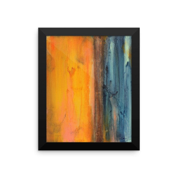 Seascape Art - Blue and Orange Wall Decor - Framed Art Print