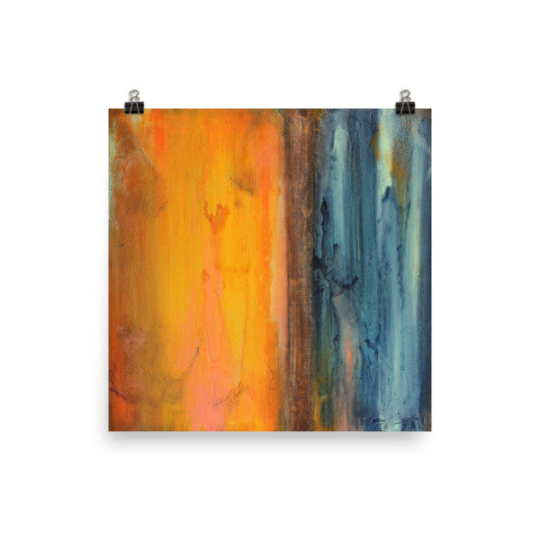 Orange and Blue Sqaure Art - Abstract Seascape - Poster Print - The Modern Home Co. by Liz Moran