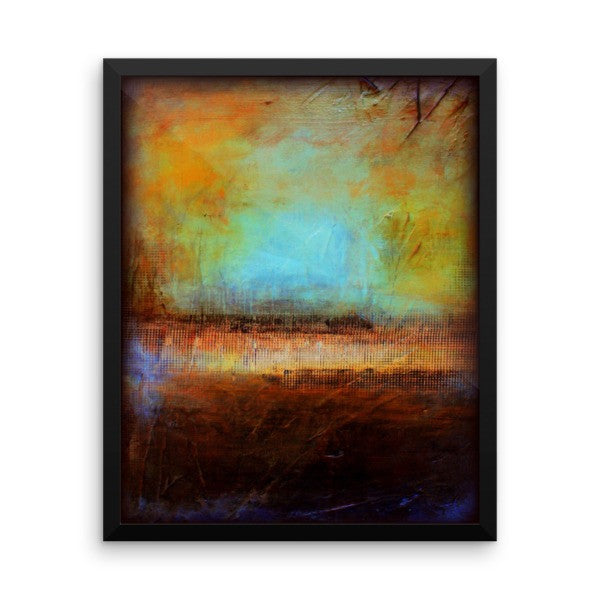 Blue and Brown Wall Decor - Framed Art  - Poster Print