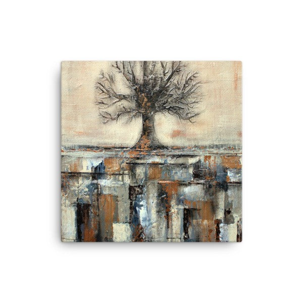 Canvas Tree Print - Landscape Art - Gold and Brown Wall Decor
