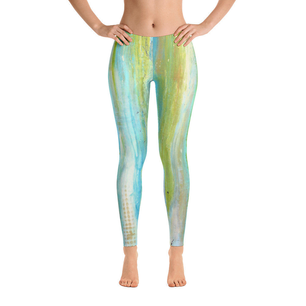 Spring Harmony - Green and Blue Leggings - The Modern Home Co. by Liz Moran