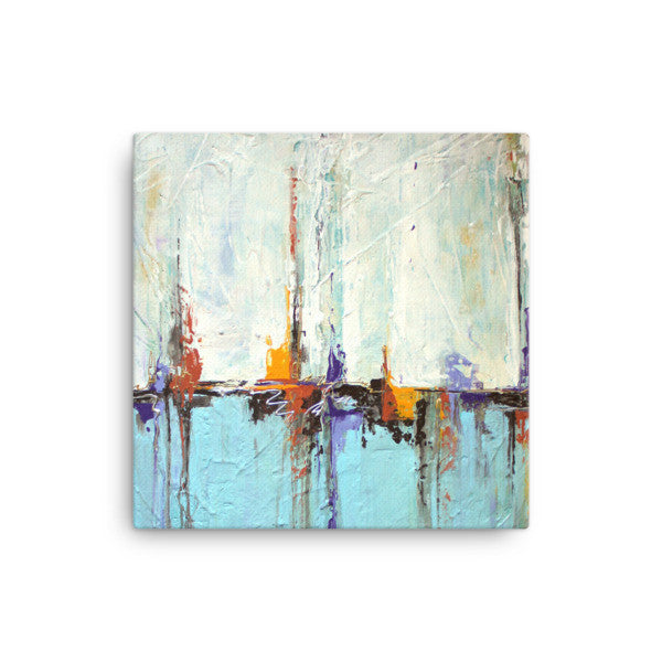White and Blue Coastal Art - Canvas Print - Abstract Seascape