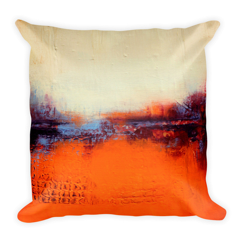 Orange and White Throw Pillow