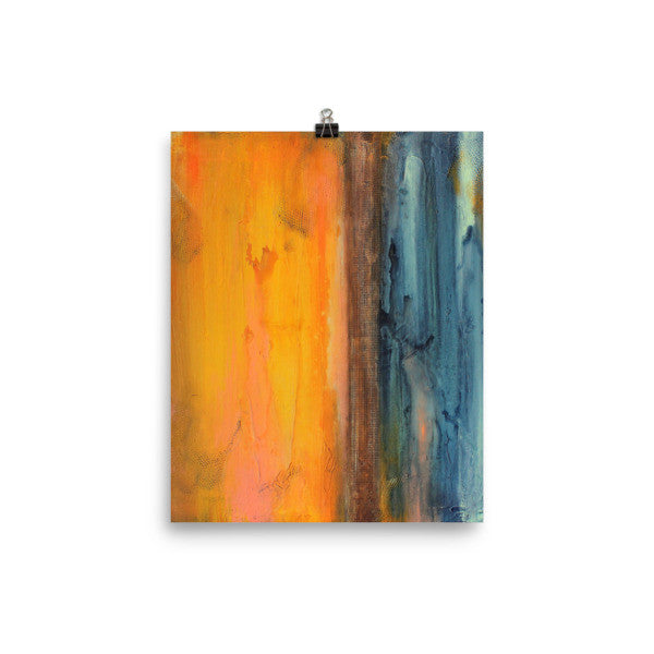 Orange and Blue Sqaure Art - Abstract Seascape - Poster Print