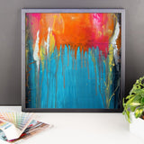 Blue and Orange Framed Wall Art - Abstract Wall Hanging
