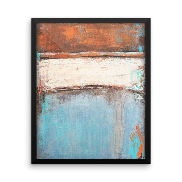 Copper and Blue Abstract - Framed Poster Print