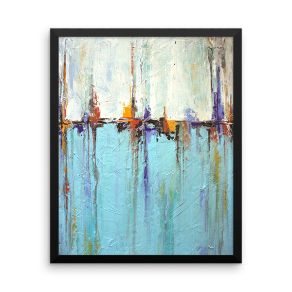 White and Blue Wall Art - Framed Poster Print - Coastal Wall Decor