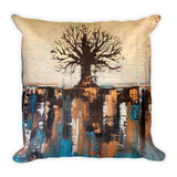 Abstract Tree Throw Pillow – Teal and Brown Home Décor
