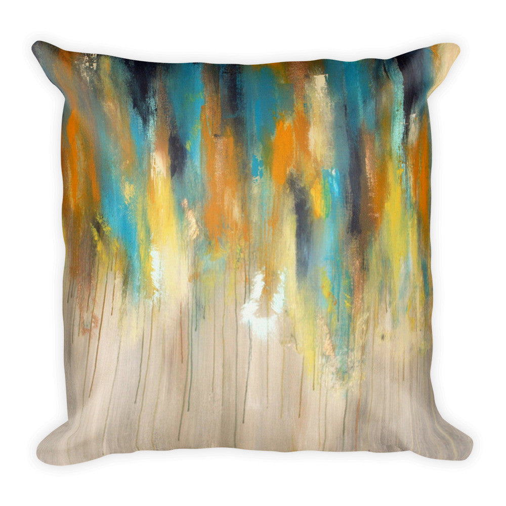 Yellow, Blue and Grey Throw Pillow