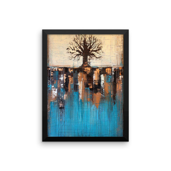 Teal and Brown Tree Art - Framed Poster Print - Wall Decor