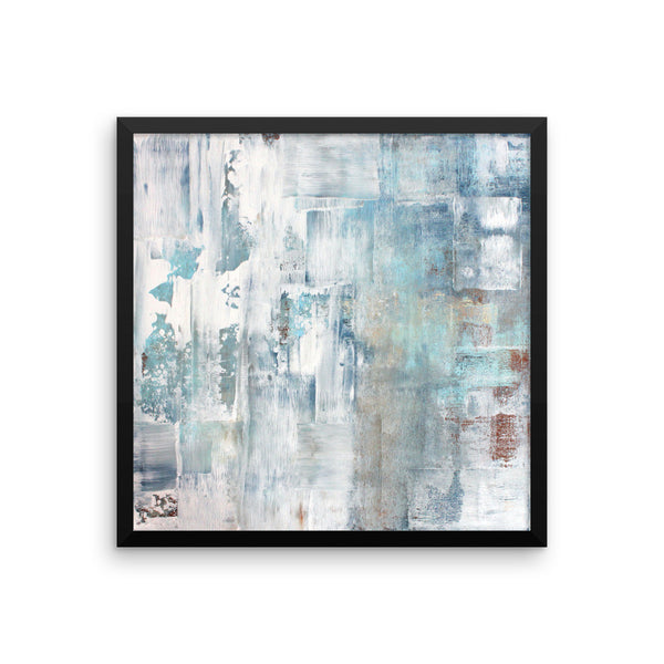 Frost - Blue and White Framed Poster Print