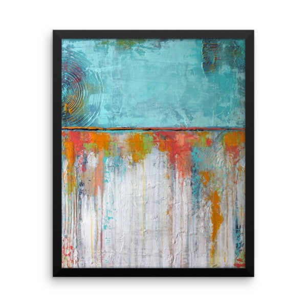 Abstract Framed Poster - Blue and White Wall Art
