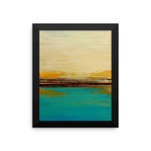 Abstract Seascape Print – Blue and White Wall Art – Framed Poster Print
