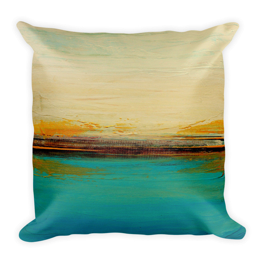 Horizon – Abstract Seascape Print – Blue and White Throw Pillow – Beach House Decor - The Modern Home Co. by Liz Moran