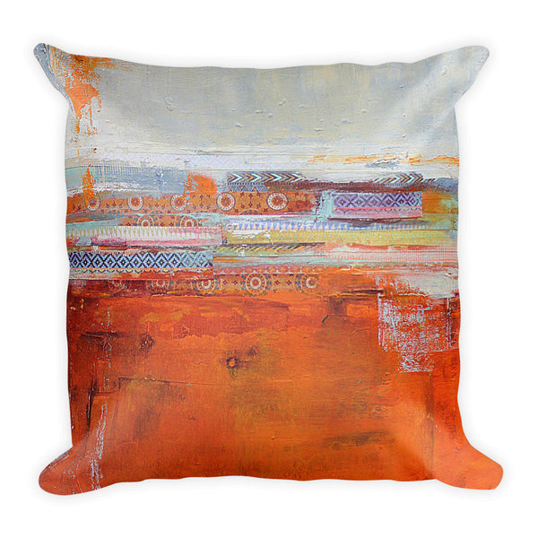 Santa Fe Vibes - Orange and White Throw Pillow