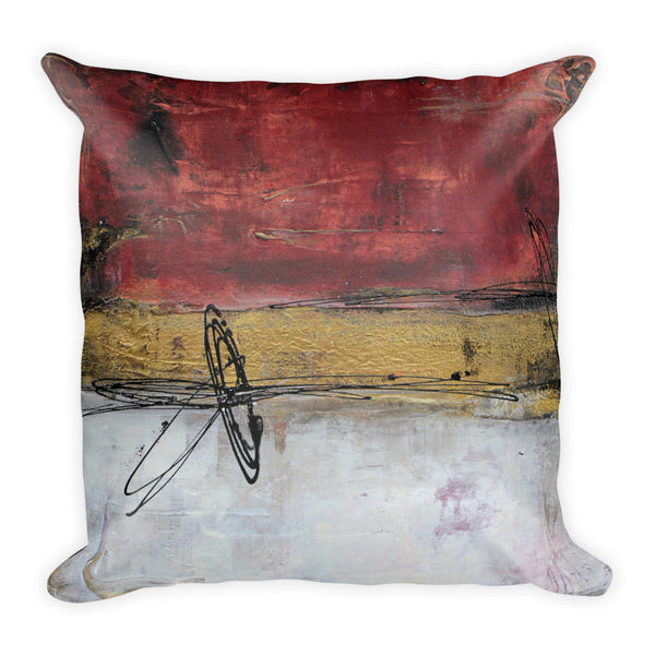 Fusion - Red and Gold Throw Pillow - The Modern Home Co. by Liz Moran