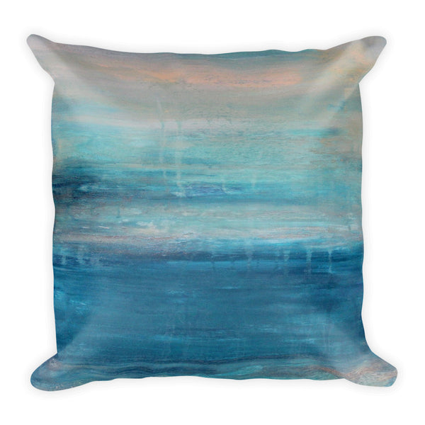 Raindrops - Teal Square Pillow