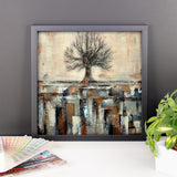 Framed Tree Poster - Abstract Landscape - Neutral Colors