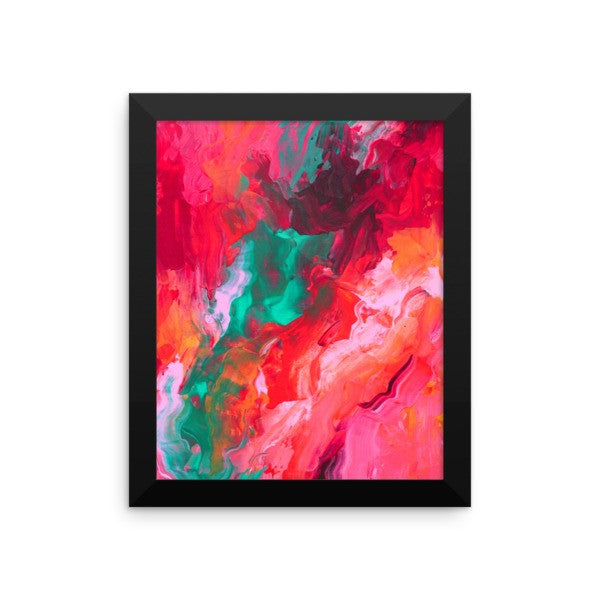 Pink and Teal Wall Art - Framed Poster - Art Print