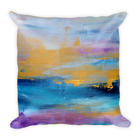 Gold, Navy and Plum Abstract Throw Pillow