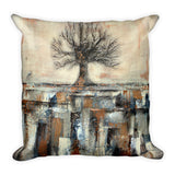 Tree in Brown and Gold Landscape - Natural Throw Pillow