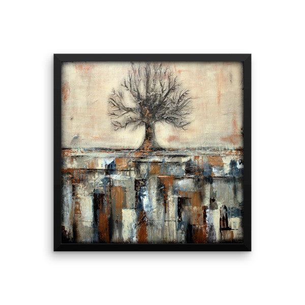 Framed Tree Poster - Abstract Landscape - Neutral Colors - The Modern Home Co. by Liz Moran