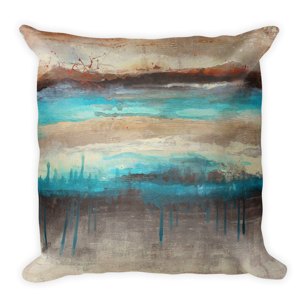 Canyon America - Brown and Teal Square Pillow - The Modern Home Co. by Liz Moran