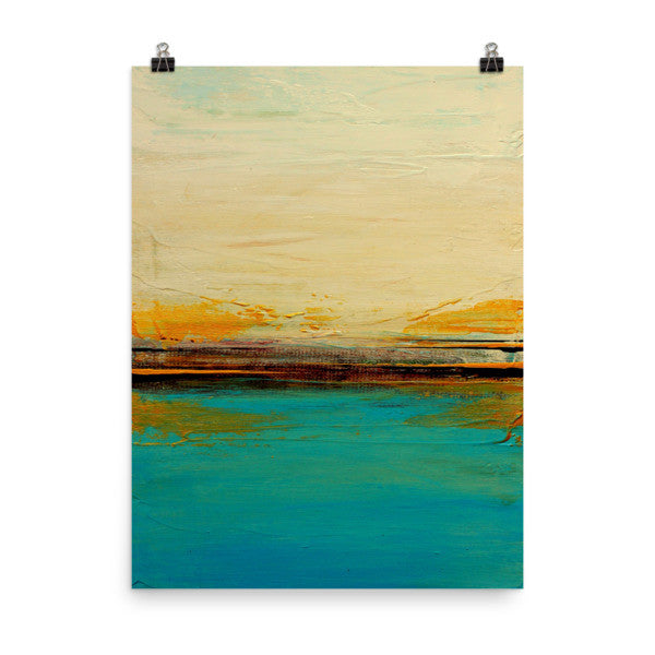 Abstract Seascape Print – Blue and White Wall Art – Coastal Poster Print - The Modern Home Co. by Liz Moran