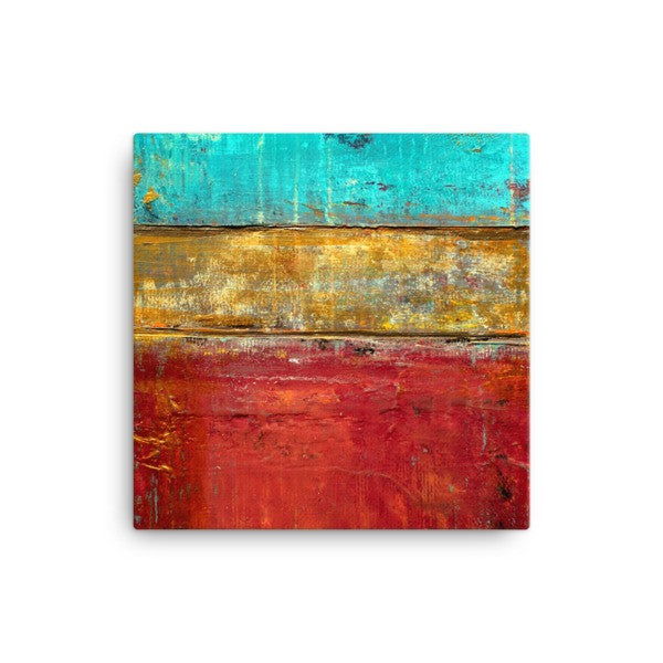 Red and Gold Wall Art - Canvas Print - Red, Gold an Blue - The Modern Home Co. by Liz Moran