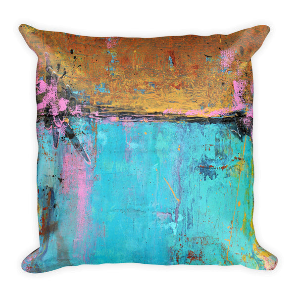 Montego Bay - Teal and Orange Throw Pillow