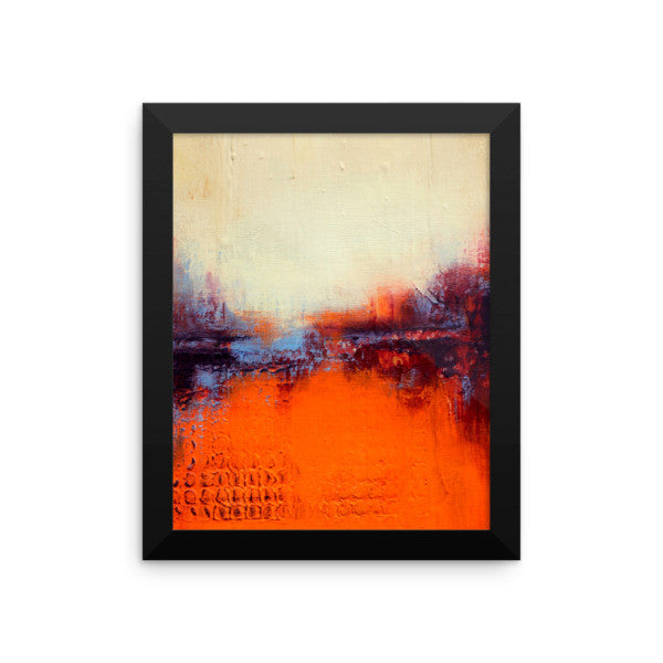 Textured Abstract Landscape – Orange and White Wall Decor - Framed Print