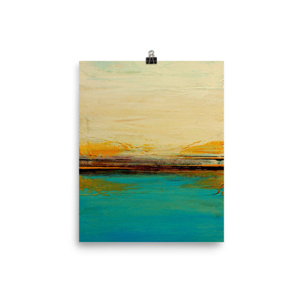 Abstract Seascape Print – Blue and White Wall Art – Coastal Poster Print