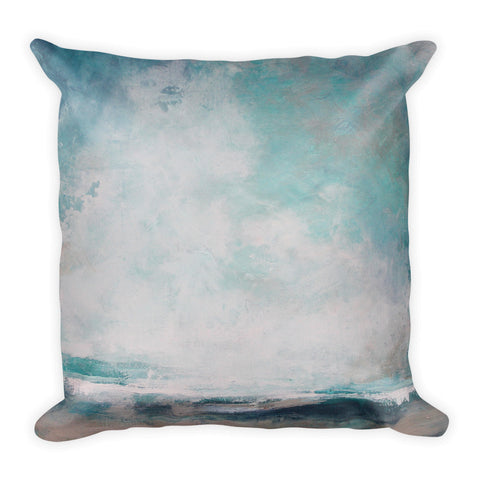 Teal Landscape Throw Pillow