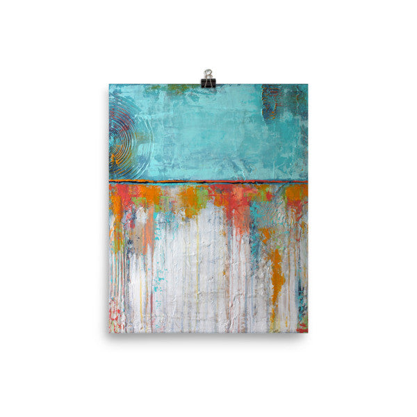 Blue and White Poster Print - Abstract Wall Art