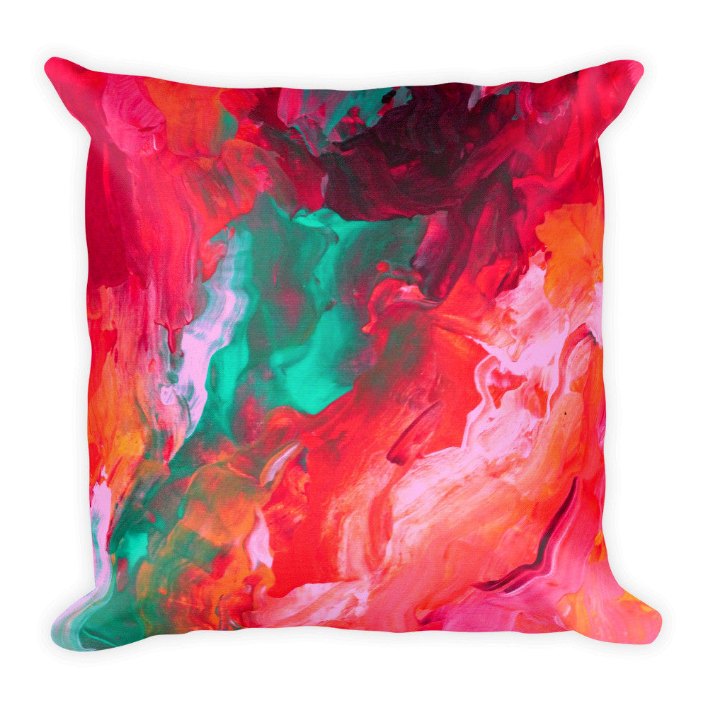Pink and Teal Throw Pillow